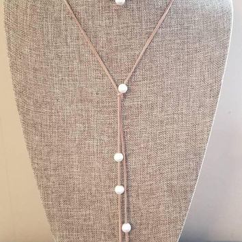 Long Suede Pearl Leather Lariat Y Necklace Long Choker Black Brown Natural Tan Leather Wrap Knotted Freshwater Pearls