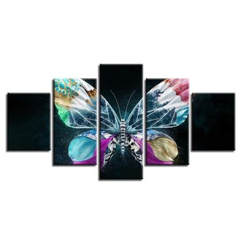 Wall Frame Artwork 5 Pieces Colorful Butterfly Abstract Panel Art Poster