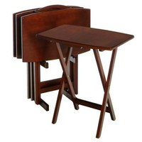 Set of 4 Solid Wood TV Tray Coffee Tables with Storage Rack in Walnut