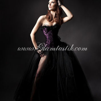 Custom Size plum and black burlesque tulle prom dress