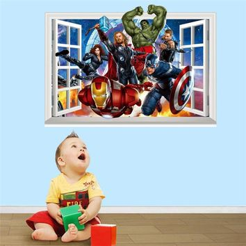 Cartoon The Avengers Wall Stickers for kids Room Children Boy Bedroom Wall Decals Window poster  sticker Poster Gift Home Decor