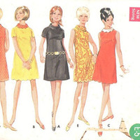 Retro 60s Simplicity Sewing Pattern Baby Doll Mini A-line Go Go Dress Scalloped Hem High Neck Mad Men Style Bust 38