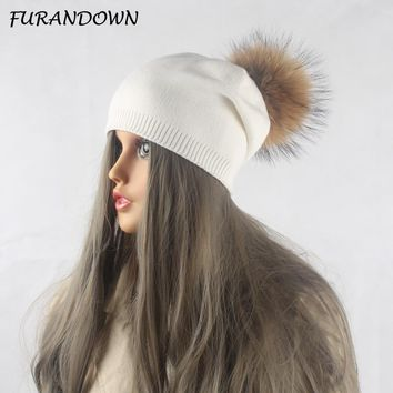 a49fc71ca3a Winter Autumn Pom Pom Beanies Hat Women Knitted Wool Skullies Ca