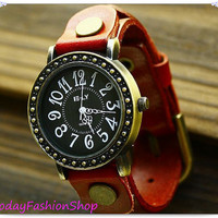 Antique  Vintage watch Personality wristwatch leather bracelet watch, Christmas stocking SW85