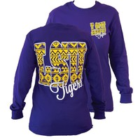 Southern Couture LSU Tigers  Louisiana State University Aztec Tribal Girlie Long Sleeve Bright T Shirt