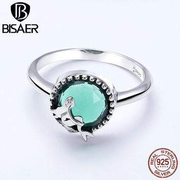Silver Ring Authentic 925 Sterling Silver Ocean Blue Crystal Amazing Mermaid Women Finger Ring Sterling Silver Band Gift GXR361