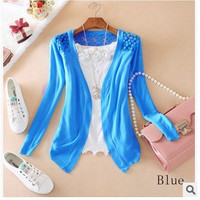 Women Lace Sweet Candy Color Crochet Knit Blouse Sweater Cardigan