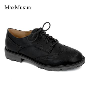 MaxMuxun Women Flats Wingtip Oxford Shoes 2017 Autumn Genuine Leather Lace Up Round Toe Vintage Carved Brogue Loafers Size 36-41