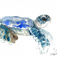 Baby Sea Turtle Painting, 12 X 9 in, original watercolor blue painting, cute turtle art, illustration
