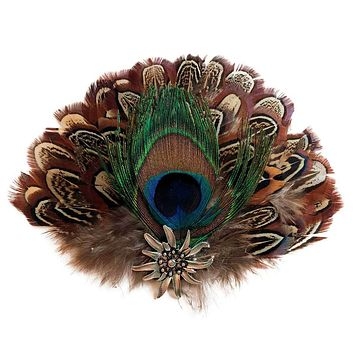 Deluxe Fedora Feather Pin Peacock & Brown Hat Feathers