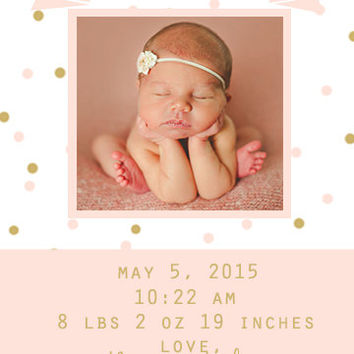 Pink and Gold Polka Dot Baby Girl Announcement Custom Digital Printable Card
