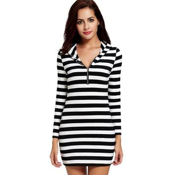 Casual Hooded Striped Short Mini Dress