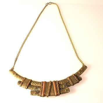 Bronze Tone Necklace, 8 inches long, Vintage Necklace, Fashionable, art deco style, detailed metal