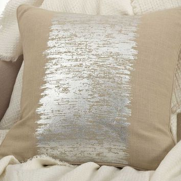 "Eleni Natural with Metallic Silver 20"" Pillow"