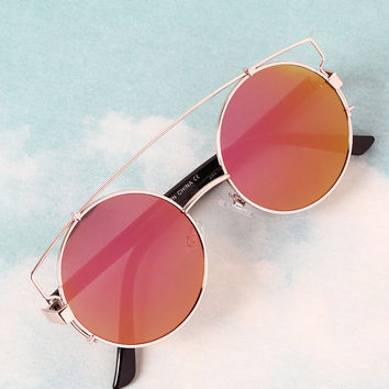 Retro Double Bridge Round Frame Sunglasses | UrbanOG