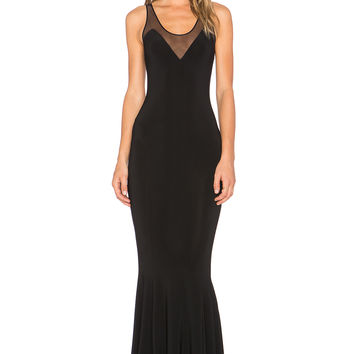 Norma Kamali KAMALI KULTURE Racerback Fishtail Maxi Dress in Black & Black Mesh