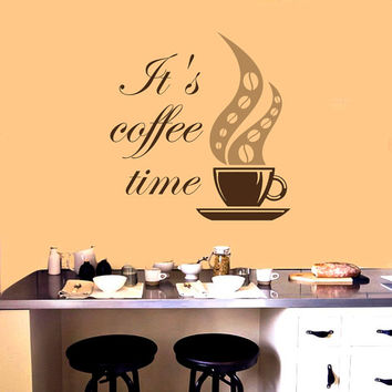 Wall Decals Quotes it's Coffee Time Quote Decal Cup Beans Design for Kitchen Cafe Coffee House Shop Store Vinyl Sticker  Home Decor ML108