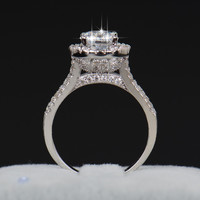 Luxury Women Engagement Jewelry 925 sterling Silver 5A ZC Crystal Zircon Female Wedding Finger Flower Rings