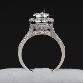 Beautiful Flower Cut Diamond Engagement Ring