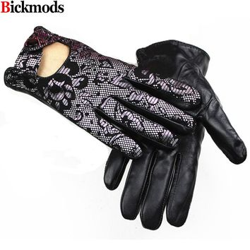 2017 Guantes Mujer Leather Gloves Female Sheepskin Fashion Hollow Suede Printed Style Lining Spring And Summer Driving
