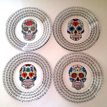 Sugar Skulls Dining Set Day of the Dead Glass Plates Dinnerware Gift Set Dia De Los Muertos