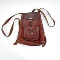 Vintage backpack small brown leather rustic rucksack by nemres