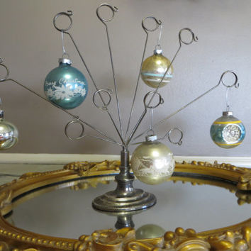 Shiny Brite Christmas Tree Ornaments Indented Ornaments Silver Gold Blue Glass Ornaments Vintage Merry Christmas Ornaments Mercury Glass
