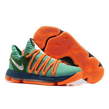 2017 Nike Zoom KD10 Kevin Durant 10 ¢ú Grass Green /Orange Red Basketball Shoes