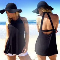 BB Dakota Jolena Jersey Open Back Tank In Black