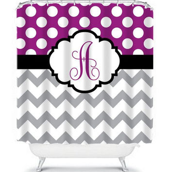 Monogram Shower Curtain Initials Name Chevron Polka Dots CUSTOM Plum Purple Gray Chevron Choose Colors Bathroom Bath Made in USA