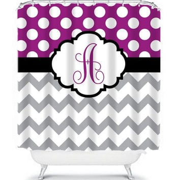 monogram shower curtain initials name chevron polka dots custom plum purple gray chevron choose colors bathroom
