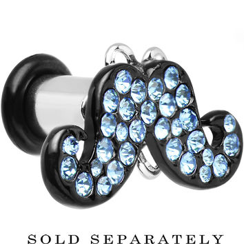 4 Gauge Aqua Gem Paved Fancy Mustache Single Flare Steel Plug