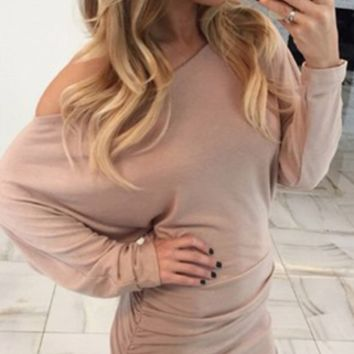 Solid Loose Sleeve Drape Bodycon Dress