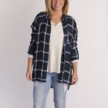heather plaid flannel top