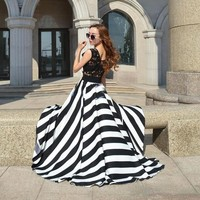 Womens Striped Chiffon Maxi Dress Black/White