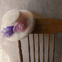 Vintage Downton Abbey Hat. Summer Wedding Hat. Straw Cloche Hat. Pink Rosette Lavender Plume