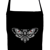 Moth with Death Skull Crossbody Sling Bag Dark Alternative Occult