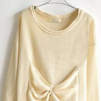 Sweet Round Neck Beige Sweater with Bow  S003827