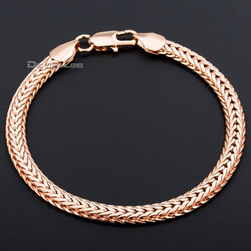 Davieslee Fashion 6mm Rose Gold Filled Bracelet Necklace Unisex Womens Mens Chain Braided Foxtail Chain ewelry DLGB254