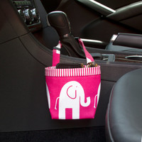 CAR CELLPHONE CADDY Pink Elephants, Sunglass Holder, Mobile Accessories, iPhone, Beach Chair Caddy, Pool Chair Holder, Golf Cart Bag
