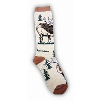 Elk in the Trees Adult Socks- X Large