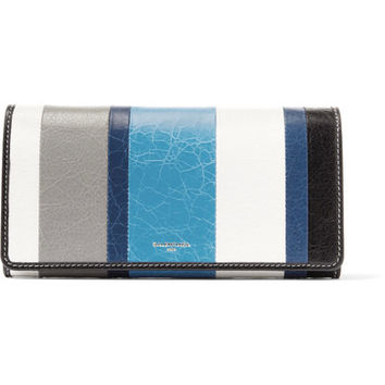 Balenciaga - Bazar striped textured-leather wallet