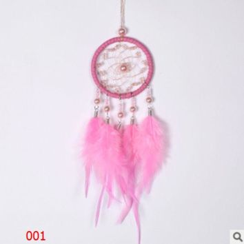 ac NOVQ2A Creative high-grade crystal beads Pearl dream catcher car pendant Girls' hearts Pink white dream catcher ornaments
