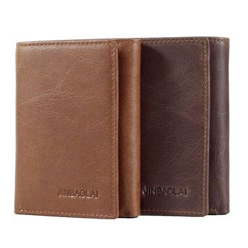 Genuine Leather Vintage Trifold Wallet For Men
