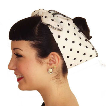 White Black Polka Dot Fabric Head Wrap Scarf