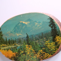 Vintage Mountain Landscape Wood Sign 1970s