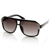 Large Oversized Square Flat Top Plastic Aviator Sunglasses
