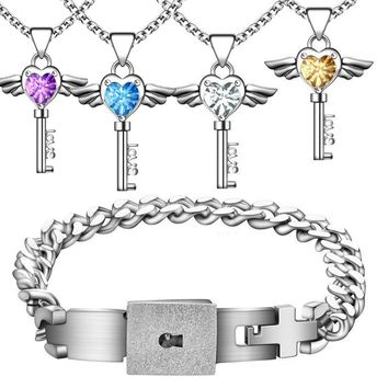 100% Waterproof Titanium Bracelet and Angel's Heart Key Necklace Sterling Silver Set for Couple Lock Matching Lover's Necklace
