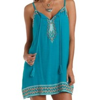 Turquoise Combo Embroidered Tassel-Tied Dress by Charlotte Russe