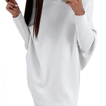 White Long Sleeve Baggy Sweater Dress